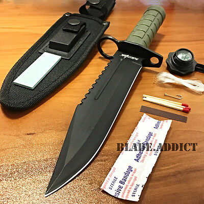 """12"""" Tactical Hunting Army Rambo Fixed Blade Knife Machete Bowie w/ Survival Kit"""