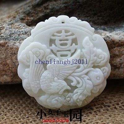 Collect Chinese natural old whitem Jade Carved Amulet Pendant Phoenix