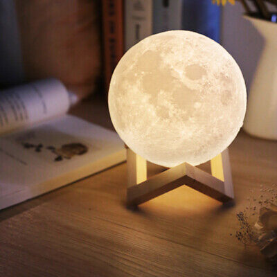 Best 3D Printing Moon Lamp USB LED Night Light Moonlight Touch Color Changing (Best Lamp Rechargeable)