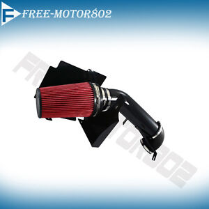 GMC/Chevy V8 4.8L/5.3L/6.0L Heat Shield Cold Black Air Intake System Red Filter