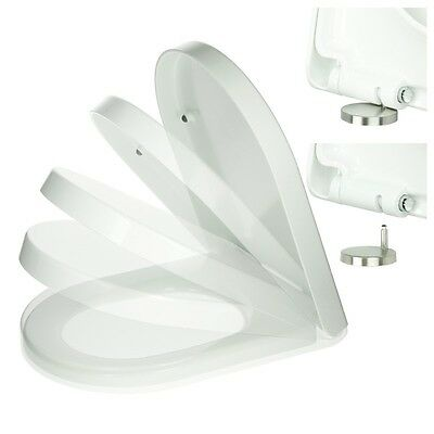 Toilettendeckel mit Absenkautomatik Softclose Duroplast Weiß Klobrille Eckig