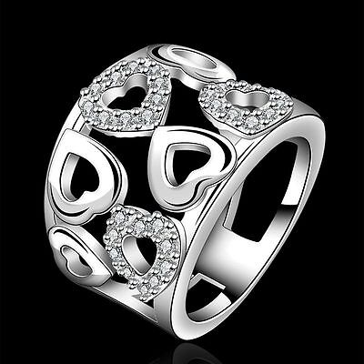 Fashion women 925 Sterling silver Zircon heart wedding Austria crystal Ring gift 925 Sterling Silver Crystal Ring