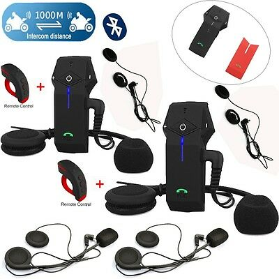Motorcycle BT 1000m Intercom Headsets+Remote Control+2x Earpieces T-COM COLO-FDC