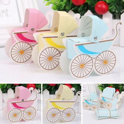 10X Blue Candy Boxes Baby Shower Carriage Wedding Favour Party Table Decor Gift