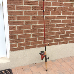 ABU GARCIA CARDINAL 556 SPINNING REEL WITH 7 FT 2 IN  ROD