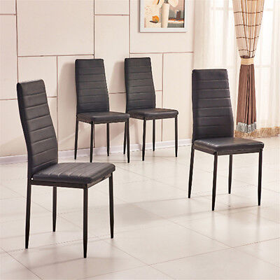4x Black Faux Leather High Back Dining Chairs Metal Legs Padded Seat Dining Room