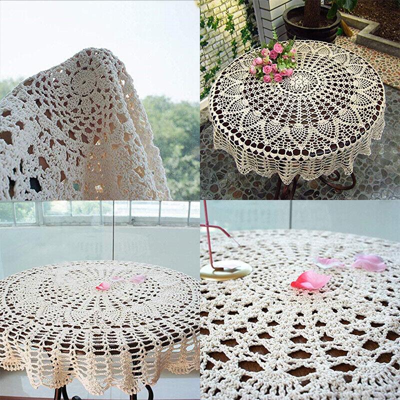 36''/ 90cm Beige Round Cotton Crochet Lace Design Hand Table