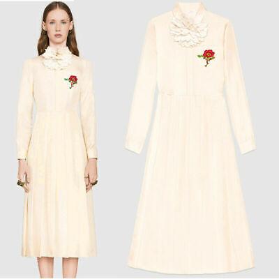 sz 38 NEW $3300 GUCCI RUNWAY Ivory Silk Twill CORSAGE FLOWER Pleated Skirt DRESS