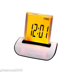 LED 7 Color Glowing Change Digital Calendar Alarm Thermometer Snooze Home Clock