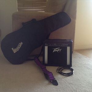 Peavy amp, guitar case, strap and cord