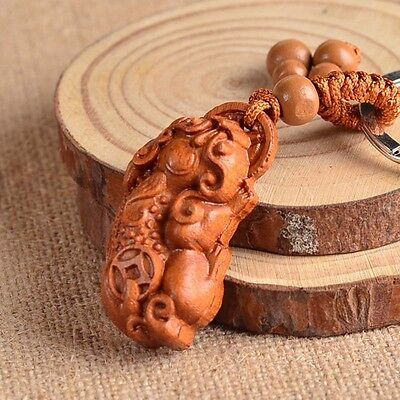 Chinese Wood Carving Craft Dragon Pixiu Fu Dog Statue Sculptrue Key Chain Ring