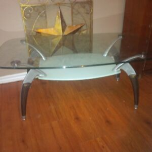 vintage 2 tier glass top table with spider legs.