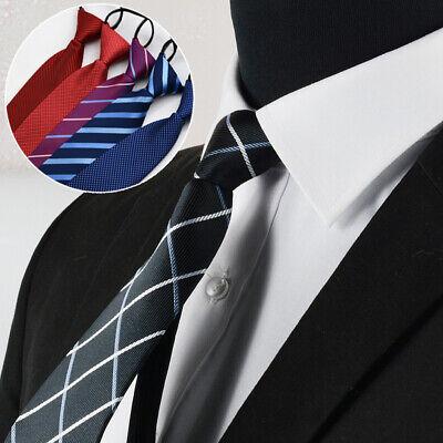 Men's Easy Accessories Pre-Tied Formal Neckties Lazy Tie Business Zipper Tie