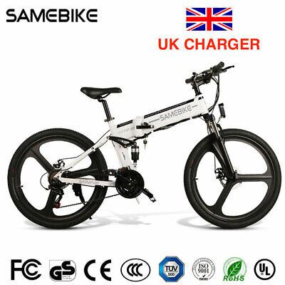 """UK SPEC Samebike 350W White 26"""" Folding Electric Bike 25MPH L026 eBike"""
