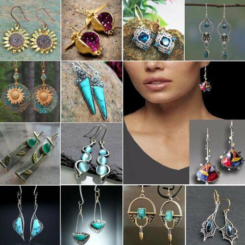 Jewellery - Retro Boho Turquoise Flower Earrings Hook Moonstone Dangle Drop Sapphire Women