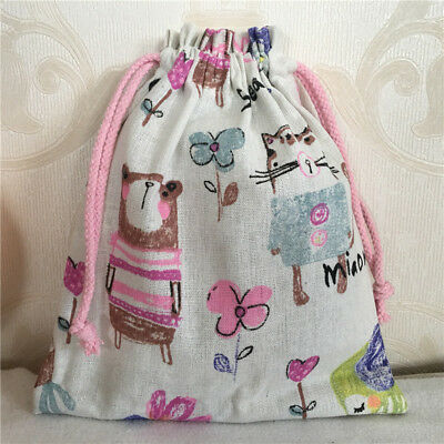 Gift Bag Organizer (Cotton Linen Drawstring Multi-purpose Organizer Gift Bag Drawing Animal 8212d)