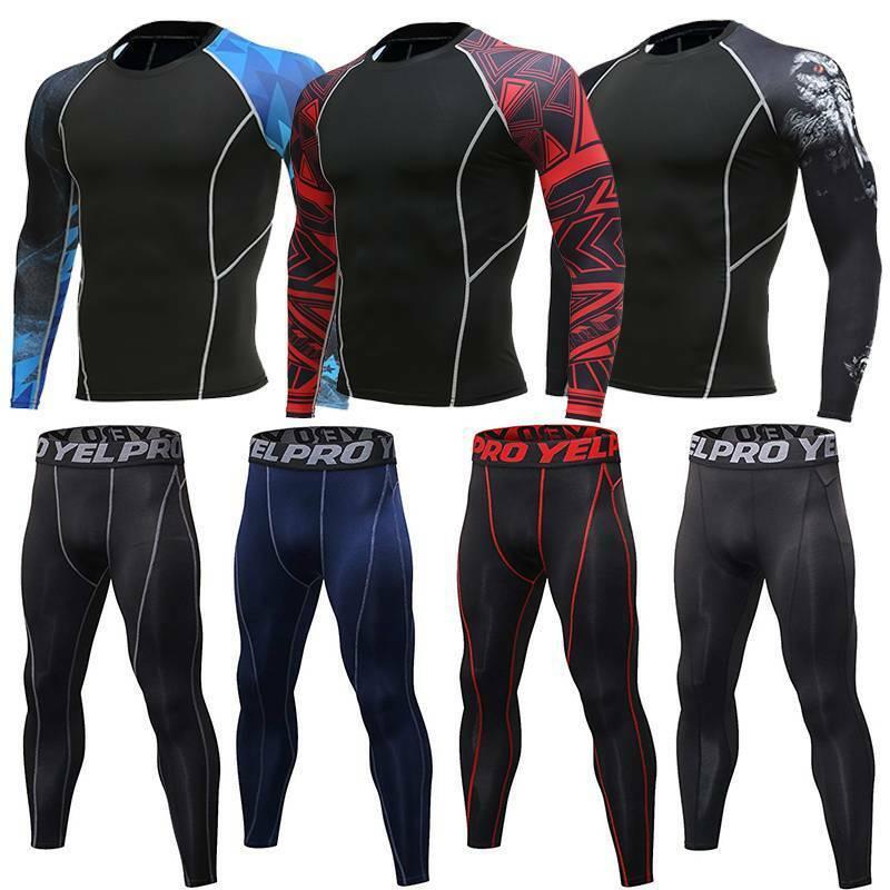 Mens Compression Thermal Base Layer Shirt Tops Pants Legging
