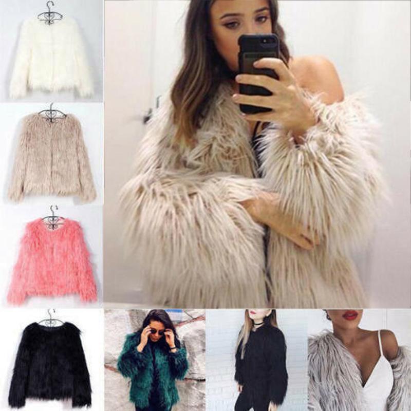 Women Winter Faux Fur Jacket Warmer Shaggy Outwear Cardigan