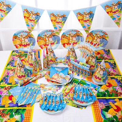 89tlg Winnie Pooh KinderGeburtstag Party Tisch Deko Teller Servietten Hüte Tüten (Winnie The Pooh Geburtstag Party)