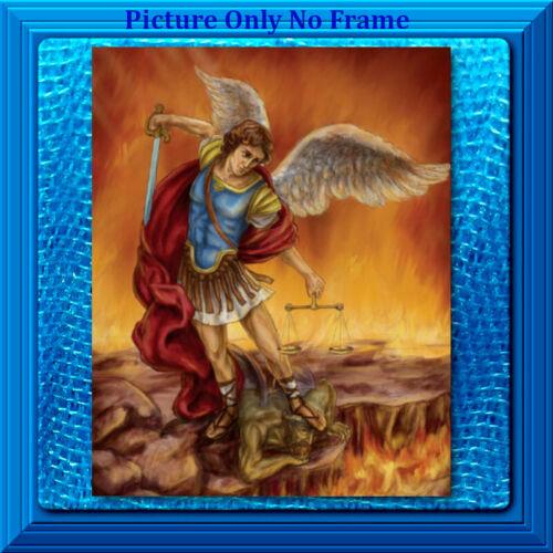 8x10 CATHOLIC ART Print Poster Picture Saint St. Michael the Archangel w/Prayer