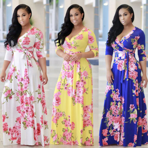 Dress - Women Floral Boho Long Maxi Dress Evening Cocktail Party Beach Dresses Sundress