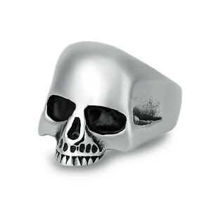 Fashion-Stainless-Steel-Silver-Men-Punk-Biker-Skull-Ring-US-Size-7-8-9-10-11-12