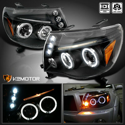 For 2005-2011 Toyota Tacoma LED Halo Black Projector Headlights Lamps Left+Right