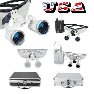 Dental Medical Binocular Loupes 3.5x 420mm Optical Glass Led Head Light Lamp A