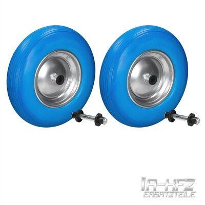 SET 2x WHEELS WHEELBARROW WHEELS PUNCTURE PROOF PU BLUE SOLID RUBBER 4.80/4.00-8