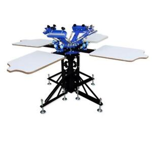 Silk Screen 4 Color 4 Station Press Screen Printing Machine 006433