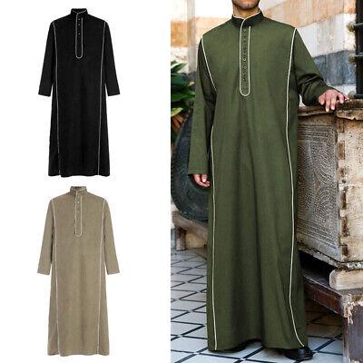 Men's Saudi Style Thobe Thoub Dishdasha Jubba Islamic Arab Kaftan Abaya Robe Top