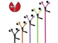 Zipper zip earphones in ear phones new
