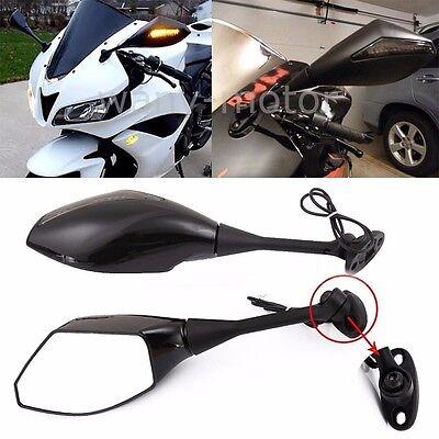 LED Integrated Turn Signal Light Mirrors For 2003-2015 Honda CBR 600RR 1000RR