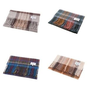 Edinburgh-100-Lambswool-Modern-Check-Tartan-Scarf-Various-Colours