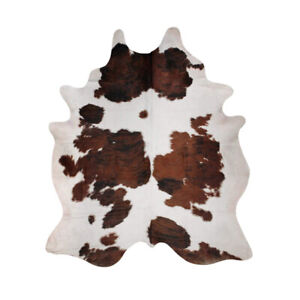 Tricolor Brazilian Cowhide Area Rug, Cow skin Leather Hide for H