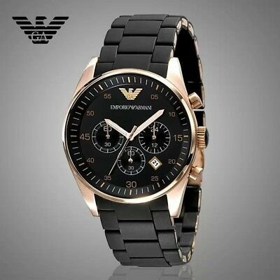 Emporio Armani AR5905 Chronograph Rose Gold Black Men's Fashion Watch