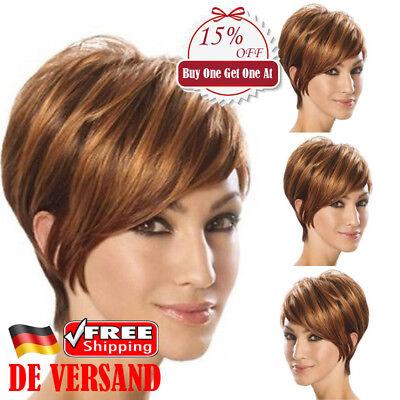 DE Damen Goldbraun Wig Kurzhaarperücke Lockiges Schräg knallt Haarteile Perücke ()