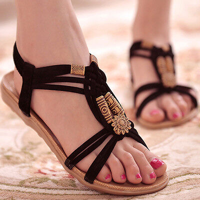 Fashion Women Boho Comfort Shoes Summer Flip Flop Flat Gladiator Sandalias Beach