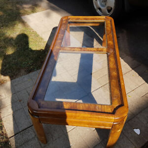 Coffee Table w/ Glass Inserts - wood, brown, excellent condition