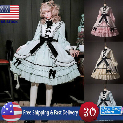 Womens Medieval Lolita Dress Ruffle Tiered Pretty Bow Lace Frock Cosplay Costume - Pretty Woman Costume