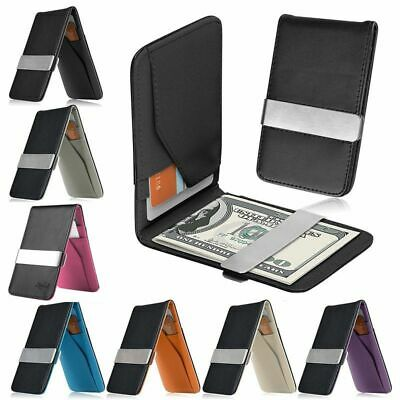 - Mens Genuine Leather Silver Money Clip Slim Wallets Black ID Credit Card Holder
