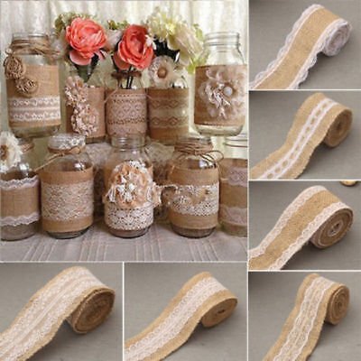 2M Natural Jute Burlap Hessian Ribbon +lace trim Edge Vintage Wedding Rustic