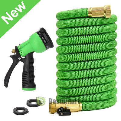 Brass Water Hose - 25/50/75FT Deluxe Expanding Flexible Garden Water Hose Pipe w/Spray Nozzle Brass