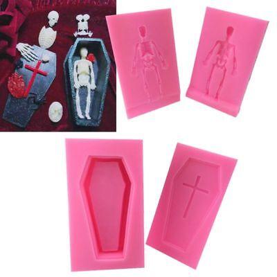 One Set 3D Cross Coffin Human Skeleton Skull Silicone Mold for Fondant Resin -