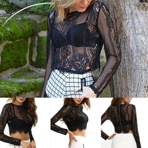 Sexy Damen Spitze Crop Tops Kurz Shirts Durchsichtig Bluse Top Weste Sommer