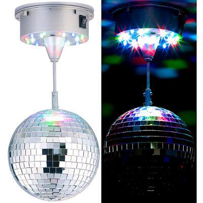 Lunartec Selbstdrehende Discokugel mit Sockel und 18 farbigen LEDs, Ø 15 cm