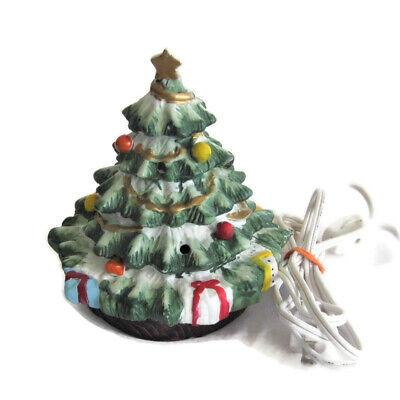 "Ceramic Lighted Christmas Tree 6"" Taiwan Gold Trim Presents Light Up Vintage"