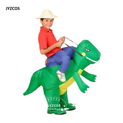 T Rex Kids Costume (Inflatable T-Rex Dinosaur Rider Costume Kids Halloween Blowup Outfit Party)
