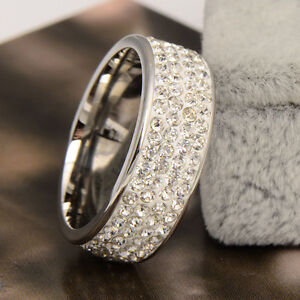 Clear Crystal Band Stainless Steel Women's Ring Size 8.5