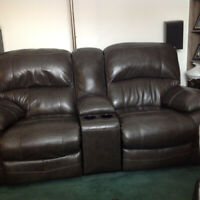 Leather power couch recliners